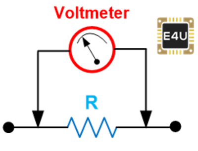 voltmeter connection for measurement of voltage across resistor